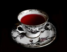 Free Cup Of Red Tea In Black Background Royalty Free Stock Photos - 15252728