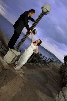 Free Wedding Couple By The Sea Stock Images - 15252844