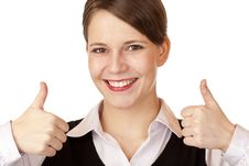 Free Successfu Attractive Businesswoman Shows Thumbs Up Stock Image - 15252851