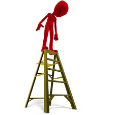 Free 3d Male Icon Toon Character On Top Of A Ladder Royalty Free Stock Image - 15253406