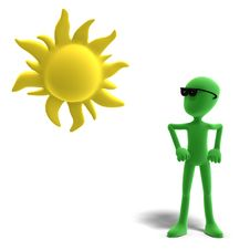 3d Male Icon Toon Character Loves The Sun Stock Photo