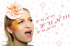 Pretty Girl Creative Eye Make-up Screaming Fun Royalty Free Stock Photos