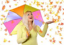 Free Portrait Of Pretty Autumn Woman Under Umbrella Royalty Free Stock Photos - 15253878