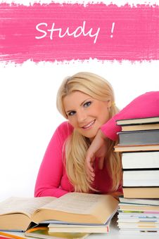 Free Portrait Of Young Student Girl With Lots Of Books Stock Photography - 15253942