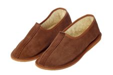 Isolated Brown Comfortable Slippers Royalty Free Stock Photo