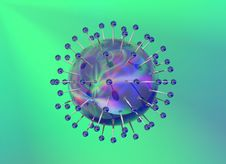 Free Blue Reflective Virus Structure On Green Backgroun Stock Photos - 15255503