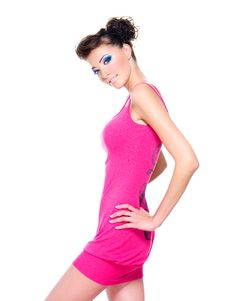 Beautiful Woman Posing In Pink Dress Stock Image