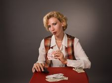 Free The Pretty Woman With Cards Stock Photos - 15256293