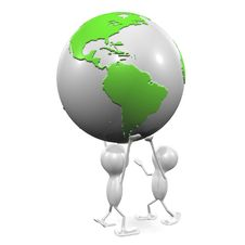 Two Men And Globe Royalty Free Stock Photo