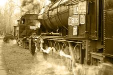 Old Steam Locomotive - Sepia Stock Images