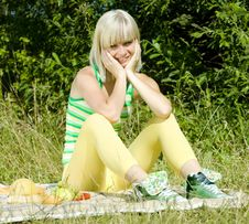Woman At A Picnic Stock Images