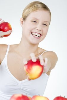 Free Woman With Apples Royalty Free Stock Image - 15258166