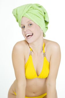 Free Woman With Towel On Head Royalty Free Stock Image - 15258176