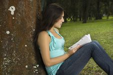 Free Woman Reading Book In Park Royalty Free Stock Photo - 15258335
