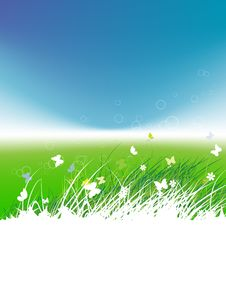 Free Green Field With Butterflies, Summer Background Stock Images - 15259704