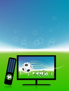 Free Football Match  On Tv Sports Channel Stock Image - 15259761