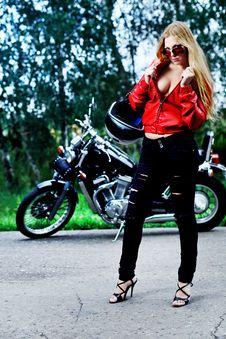 Posing Biker Stock Photography