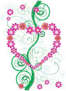 Free Pink Flower Heart And Green Curls Stock Photography - 15262262