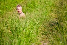Free Laughing Boy Among The Grass Stock Images - 15260044