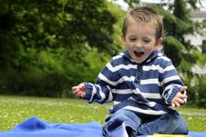 Free Happy White Child Playing In Park Stock Photography - 15260782