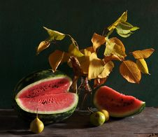 Free Still Life With A Water-melon And Yellow Leaves Royalty Free Stock Image - 15262206