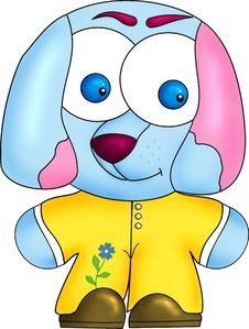 Free Blue Dog In Yellow Tights Stock Photography - 15262302