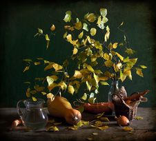 Still Life With The Leaves Of Birch