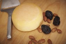 Free Cheese Round With Almonds And Prunes Stock Images - 15263374