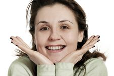 Free Beautiful Young Woman Smiling On White Background Stock Photography - 15263382