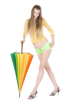 Free Young Lady Posing With Color Umbrella Royalty Free Stock Images - 15264139