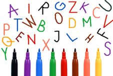 Free Set Of Felt-tip Pens Of Different Colors And Lette Stock Photos - 15264383