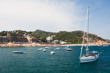 Yacht In Harbour. Costa Brava Royalty Free Stock Images