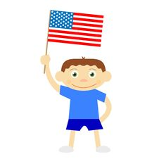 Funny Vector Boy With Flag Royalty Free Stock Image
