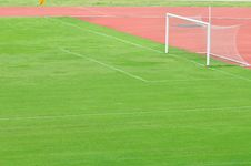 Football Grass And Football Goal Stock Photos