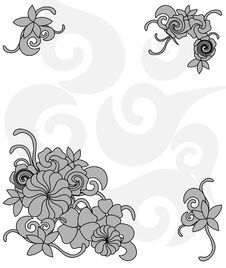 Free Monochrome Frame Of Flowers Royalty Free Stock Photography - 15267157