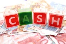 Cash In Toy Play Block Letters Royalty Free Stock Image