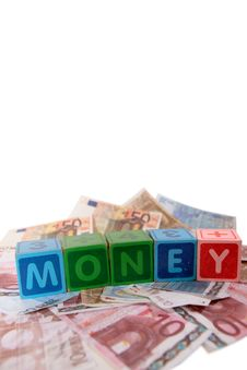 Euro Money In Toy Play Block Letters Royalty Free Stock Photo