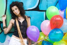 Free Woman With Colorful Balloons Stock Photos - 15267823