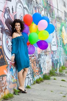 Free Woman With Colorful Balloons Royalty Free Stock Photo - 15267845