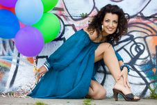 Free Woman With Colorful Balloons Royalty Free Stock Images - 15267869