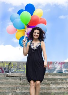 Free Woman With Colorful Balloons Stock Images - 15267914