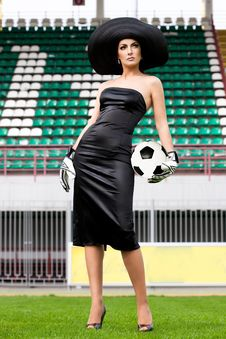Woman With Football Ball Royalty Free Stock Images