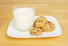 Free Milk And Chocolate Chip Cookies Stock Images - 15268424