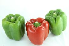 Red Bell Pepper, Green Bell Papper Royalty Free Stock Image