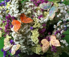 Decorative Butterflies On Flowers Stock Photo