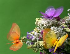 Decorative Butterflies On Flowers Royalty Free Stock Images
