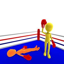 Free 3d Male Icon Toon Character Wins The Boxfight Stock Photography - 15270372