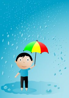 Free Boy With An Umbrella Royalty Free Stock Image - 15270686