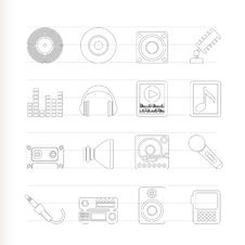 Free Music And Sound Icons Royalty Free Stock Photos - 15270888