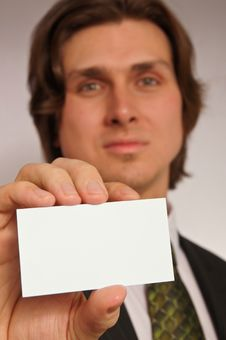 Free Young Man With Business Card Royalty Free Stock Photography - 15270917